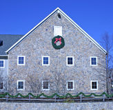 Holiday Building. A pretty stone building decorated for the holidays Stock Photos