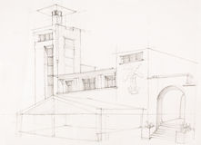 Holiday building, architectural sketch Royalty Free Stock Image