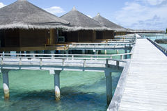 Holiday bungalows in maldives. Royalty Free Stock Image