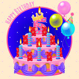 Holiday cake with candles and balloons. Greeting card happy birthday vector illustration