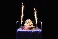 Holiday cake with fireworks Royalty Free Stock Photo