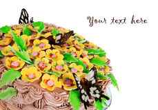 Holiday cake with flowers and butterflys Stock Images