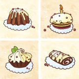 Holiday cakes set. Holiday chocolate cakes set royalty free illustration