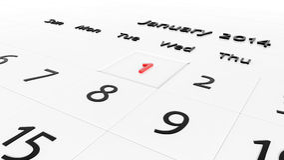 Holiday Calendar. 3d Holiday Calendar. New year day Stock Photos
