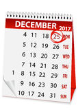 Holiday calendar for Christmas 2017 Royalty Free Stock Photo