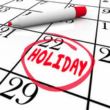 Holiday Calendar Day Date Circled Vacation Break Reminder Stock Photography