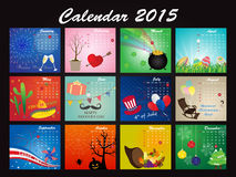 Holiday Calendar of 2015 Royalty Free Stock Photography