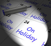 On Holiday Calendar Displays Annual Leave Or Time Off Stock Photography