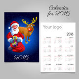 2016 holiday calendar with Santa and fun reindeer. Holiday calendar 2016 with Santa and fun reindeer Royalty Free Stock Photos