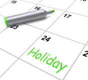 Holiday Calendar Shows Rest Day And Break From Royalty Free Stock Image