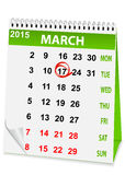 Holiday calendar in St Patrick's Day Royalty Free Stock Photos