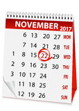 Holiday calendar for Thanksgiving Day 2017. Icon in the form of a calendar for Thanksgiving Day Royalty Free Stock Photos