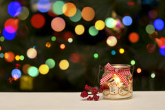 Holiday Candle Decoration On Christmas Bokeh Blur Background Stock Image