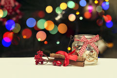 Holiday Candle Decoration On Christmas Bokeh Blur Background. For Your Christmas Card Or Poster Royalty Free Stock Photography