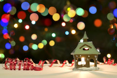 Holiday Candle Decoration On Christmas Bokeh Blur Background. For Your Christmas Card Or Poster royalty free stock photo