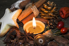 Holiday candle. A candle is an ignitable wick embedded in wax or another flammable solid substance such as tallow that provides light, and in some cases, a stock images
