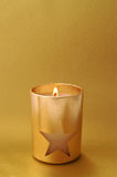 Holiday candle with star and copy space Stock Photography