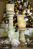 Holiday Candles in Home Stock Photo
