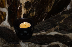 Holiday candles on the mantelpiece Royalty Free Stock Photo