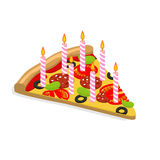 Holiday candles pizza with isometrics. Birthday fast food. Food. Is food for  birthday. Festive meal Stock Photo