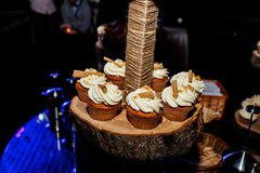 Holiday candy bar. Candy bar served with cupcakes. With cream and biscuits on wooden stump Stock Photography
