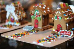 Holiday Candy Shop Gingerbread House. Handmade Holiday Candy Shop Gingerbread House by kids royalty free stock photography