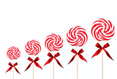 Holiday Candy Swirl Lollipops In A Line