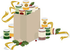 Holiday canned food drive. A illustration featuring canned goods and holiday decorations vector illustration