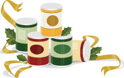 Holiday canned goods. A illustrated image of canned goods with holly and ribbon royalty free illustration