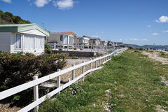 Holiday Caravans Facing Monmouth Beach Royalty Free Stock Images