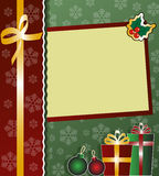 Holiday card. Festive card with presents and decoratiobs Royalty Free Stock Images