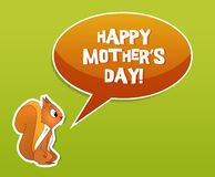 Holiday card. Happy mother's day card with squirrel Stock Image