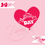Holiday card, ballon in heart shape and calligraphic text Happy. Valentine`s Day  on pink background Stock Photos