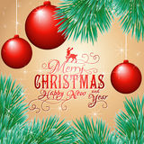 Holiday card with balls and Christmas tree. Vector illustration Royalty Free Stock Photography