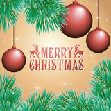 Holiday card with balls and Christmas tree. Vector illustration Stock Image