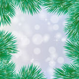 Holiday card with balls and Christmas tree. Vector illustration Royalty Free Stock Image