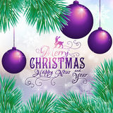 Holiday card with balls and Christmas tree. Vector illustration Stock Images
