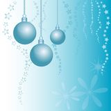 Holiday card with balls for greeting with Happy New Year and Merry Christmas Stock Photo