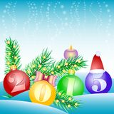 Holiday card with balls for greeting with Happy New Year and Merry Christmas Royalty Free Stock Photo