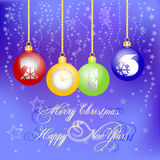 Holiday card with balls for greeting with New Year and Christmas. Greeting card with balls and 2016 inside for congratulations with Happy New Year and Merry Stock Photography