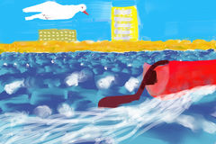 Holiday Card: beach, clear sky, sea and seagull Stock Image
