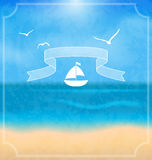 Holiday card with beach for your summer design Stock Images