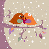 Holiday card with birds Royalty Free Stock Images