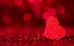 Free Holiday Card. Bright Red Heart On Red Background With Bokeh Effect Stock Photos - 145674793