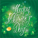 Holiday card with calligraphic words Happy St. Pat Stock Photo