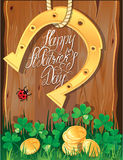 Holiday card with calligraphic words Happy St. Pat Stock Image