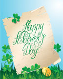 Holiday card with calligraphic words Happy St. Pat Royalty Free Stock Images