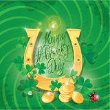 Holiday card with calligraphic words Happy St. Patrick`s Day. Sh Stock Images