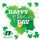 Holiday card with calligraphic words Happy St. Patrick`s Day. Sh Royalty Free Stock Photo