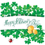 Holiday card with calligraphic words Happy St. Patrick`s Day. Sh Royalty Free Stock Images